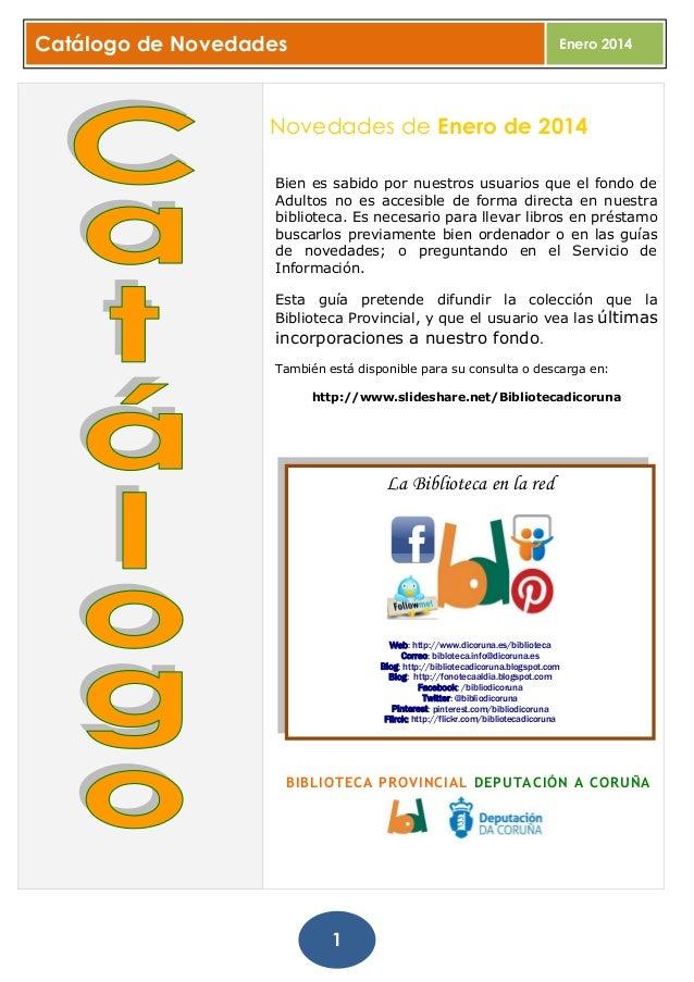 Catálogo  completo  de novedades_enero. Biblioteca Provincial da Coruña