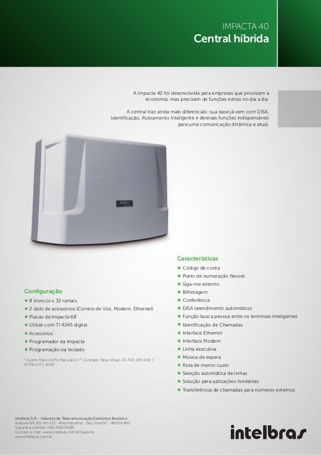 Catálogo Central Telefônica Impacta 40 Intelbras - LojaTotalseg.com.br