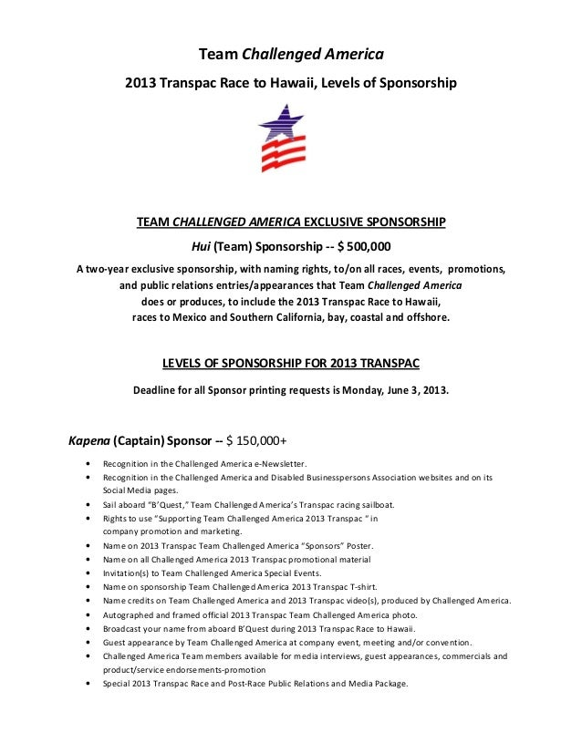 Transpac 2013 team Challenged America Sponsor Program