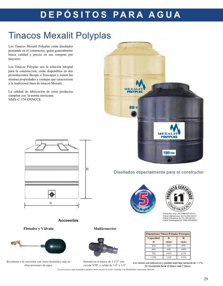 Catalogo de productos mexalit 2010 for Tinacos rotoplas medidas