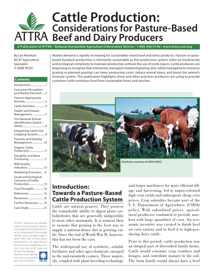 Cattle Production: Considerations for Pasture-Based Beef and Dairy Producers