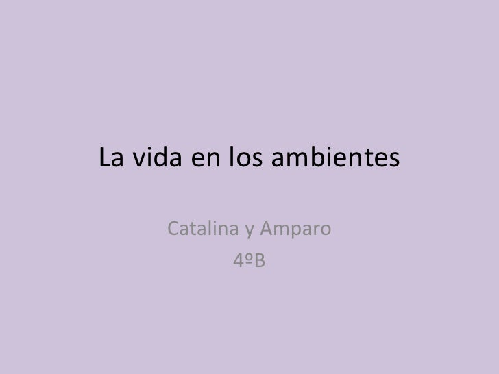 La vida en los ambientes<br />Catalina y Amparo <br />4ºB<br />