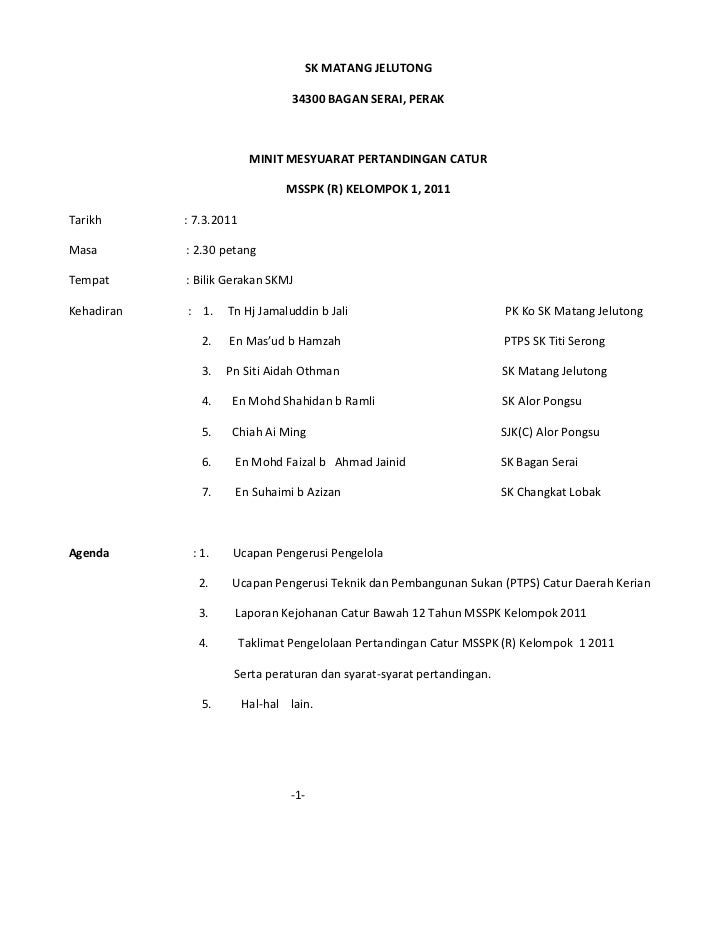 SK MATANG JELUTONG                                  34300 BAGAN SERAI, PERAK                          MINIT MESYUARAT PERT...