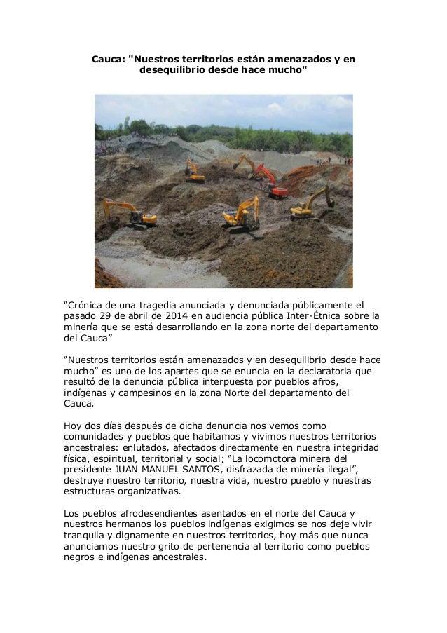 """Cauca: """"Nuestros territorios están amenazados y en desequilibrio desde hace mucho"""" """"Crónica de una tragedia anunciada y de..."""