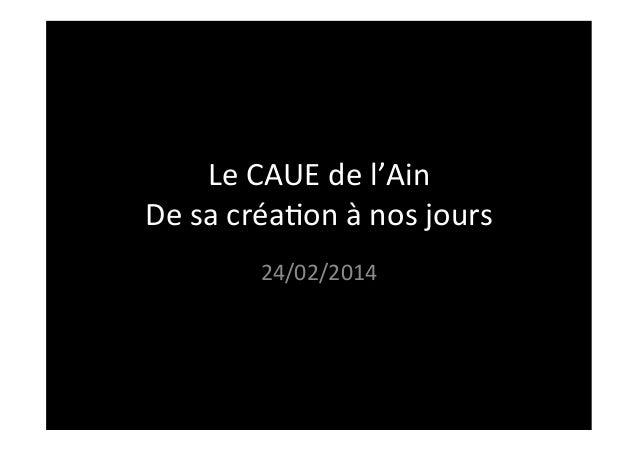 Le  CAUE  de  l'Ain   De  sa  créa3on  à  nos  jours   24/02/2014