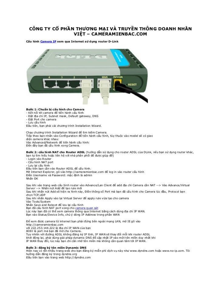 Cau hinh camera ip xem qua internet su dung router d link