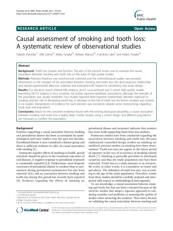 Valutazione sulle cause del fumo sulla perdita dei denti: una revisione sistematica di studi sperimentali
