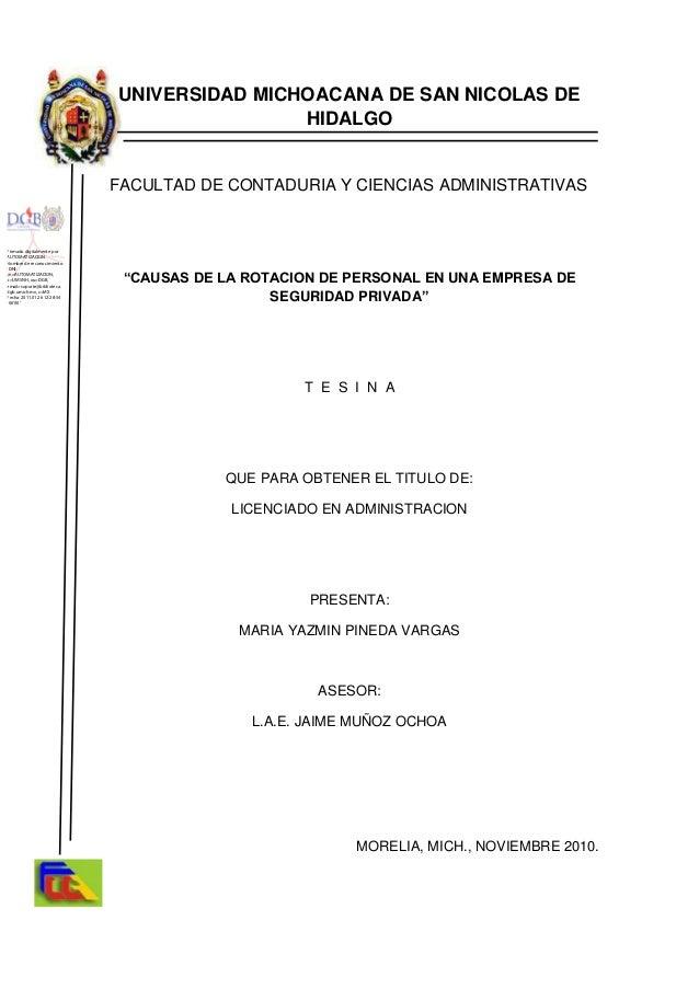 """UNIVERSIDAD MICHOACANA DE SAN NICOLAS DEHIDALGOFACULTAD DE CONTADURIA Y CIENCIAS ADMINISTRATIVAS""""CAUSAS DE LA ROTACION DE ..."""