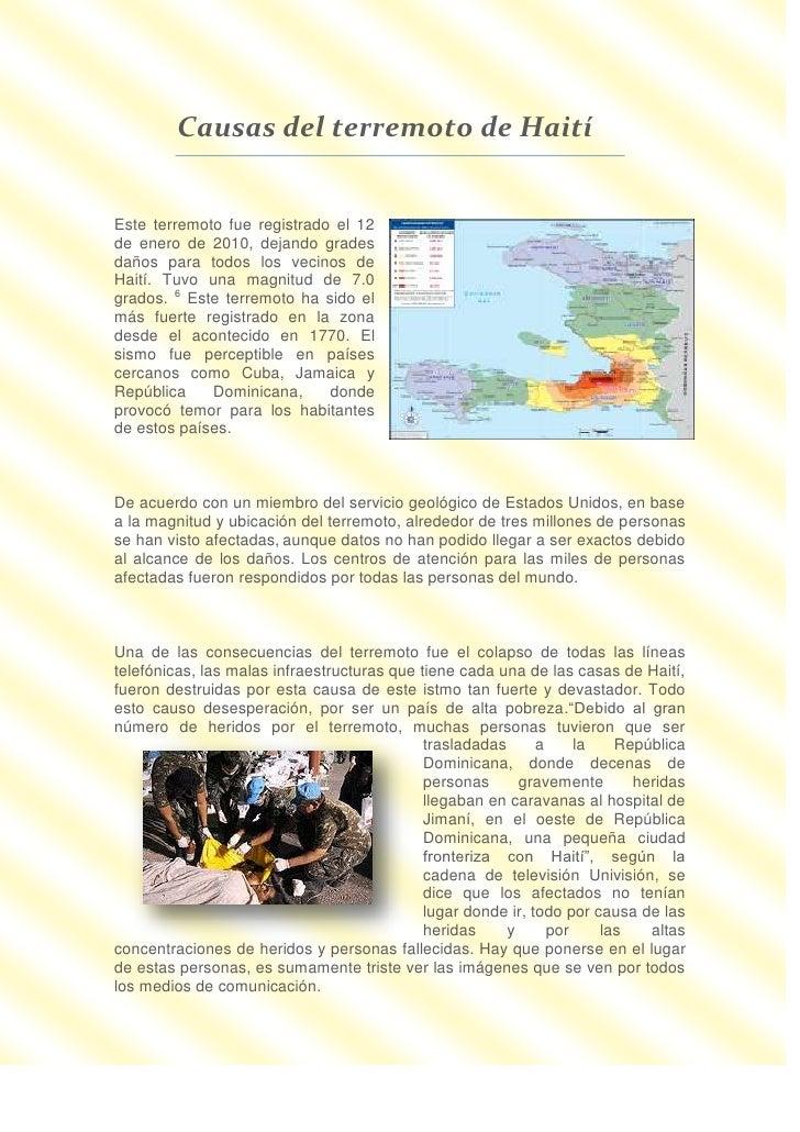 Causas Del Terremoto De Haití