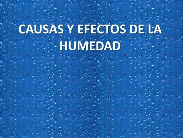 CAUSAS Y EFECTOS DE LA HUMEDAD