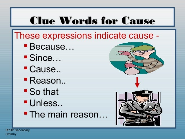 cause and effect relationship clue words for multiplication