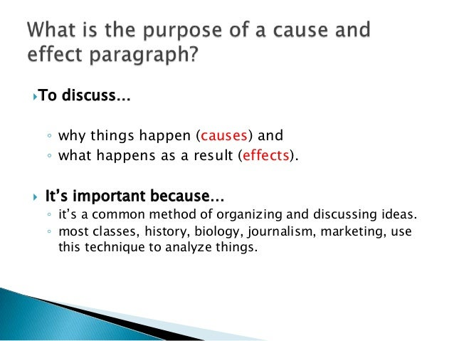 examples of cause and effect paragraph (results page 2) view and download cause and effect essays (examples) also discover topics, titles, outlines, thesis statements, and conclusions for your cause and.