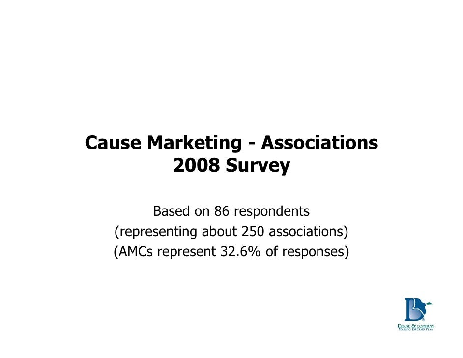 Cause Marketing - Associations         2008 Survey          Based on 86 respondents   (representing about 250 associations...