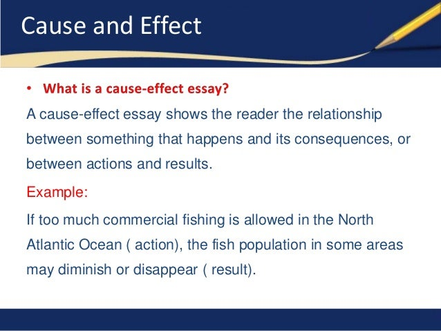 sample essay cause and effect Cause and effect is something everyone learns in elementary school there are different kinds of cause and effect writings – sentences and essays.