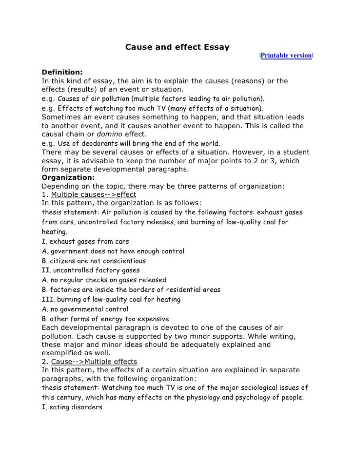 Essay starters for cause and effect essays