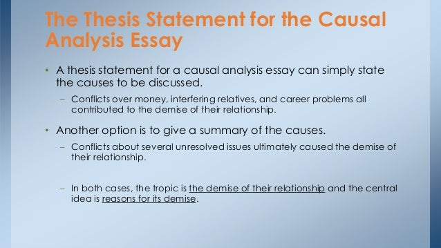 causal analysis essay topics To help you get started, here are 22 cause and effect essay topics to help you write a better essay a quick overview in order to write a good cause and effect essay, first decide if you'll write about causes, effects, or causes and effects.