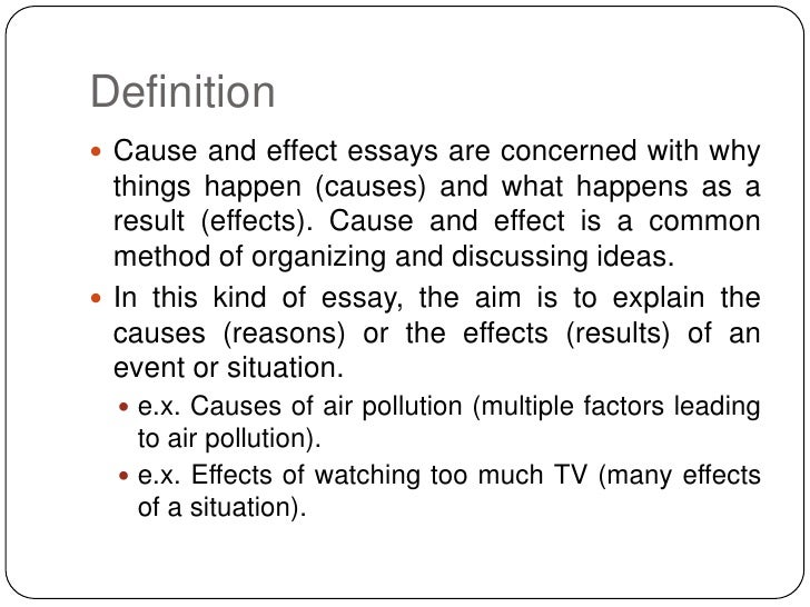 cause and effect essay conclusion A cause-effect paper, or causal analysis, explores the causes and/or consequences of actions and events -- such as why a story character fails in his mission or what will happen if you fail a class the concluding paragraph for such an essay is important since it emphasizes the causal connection and often is the.