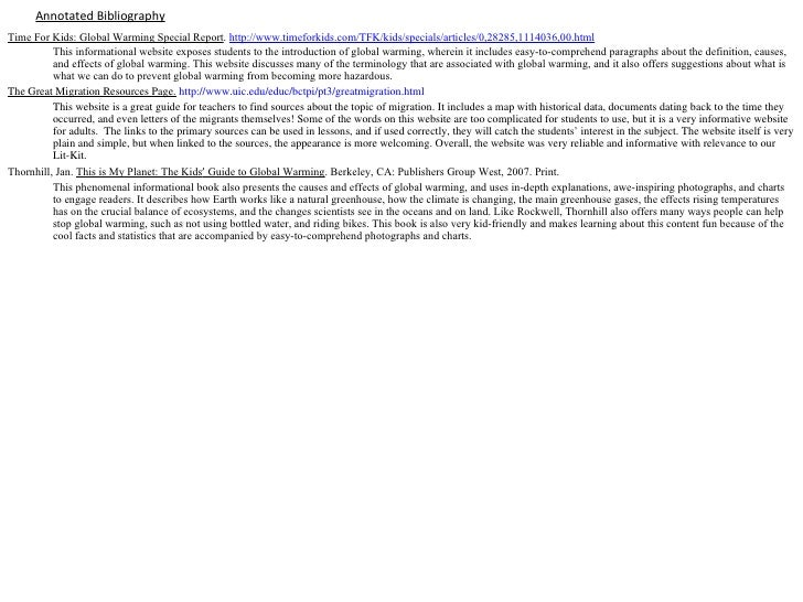 "global warming annotated bibliography Annotatedbibliography:globalwarming 1)""antarcticwarming:hotair""  globalwarmingthisarticleisusefulbecausejohansenpresentsthedatainanunbiasedfashionand."