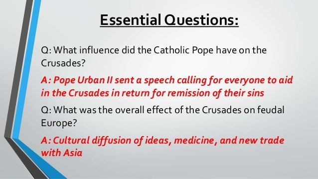 cause and effect first crusade Politics in the crusades - the crusades were an essential part of european  history  a map of the crusader states established after the first crusade.