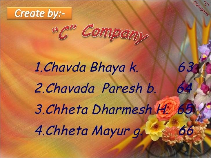 """1.Chavda Bhaya k.  63 2.Chavada  Paresh b.  64 3.Chheta Dharmesh H.  65 4.Chheta Mayur g.  66 """" C"""" Company"""