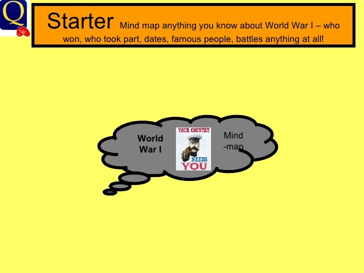 Starter  Mind map anything you know about World War I – who won, who took part, dates, famous people, battles anything at ...