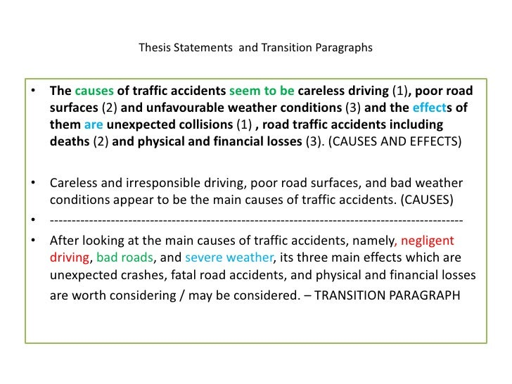 Effects of road accidents essay