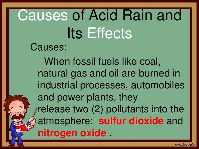 acid rain and its effects The causes of acid rain, how acid rain affects our environment and our health, and what regulatory actions have been put in place to reduce the pollutants that cause acid rain.