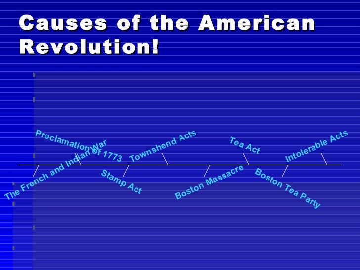 Causes of the American Revolution! The French and Indian War Intolerable Acts Stamp Act Boston Massacre Boston Tea Party P...