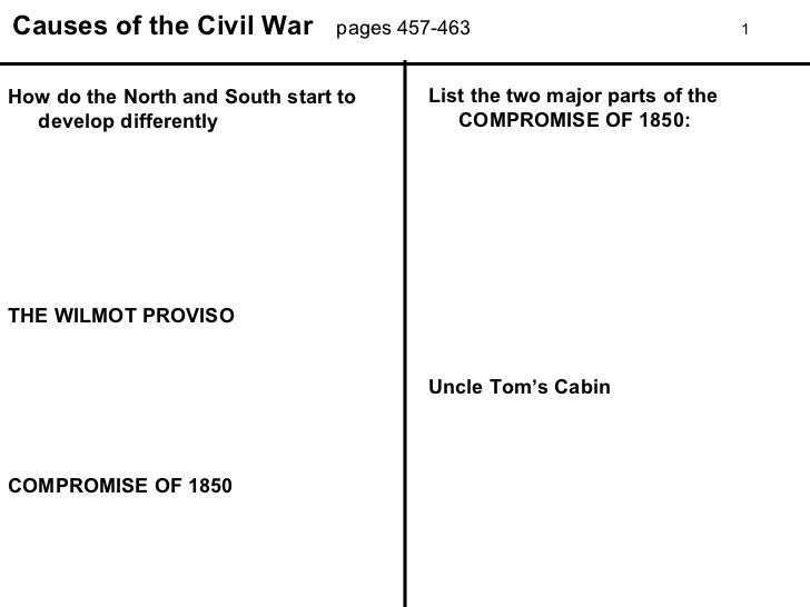Causes of the Civil War pages 457-463 1 How do the North and South start to develop differently THE WILMOT PROVISO COMPROM...