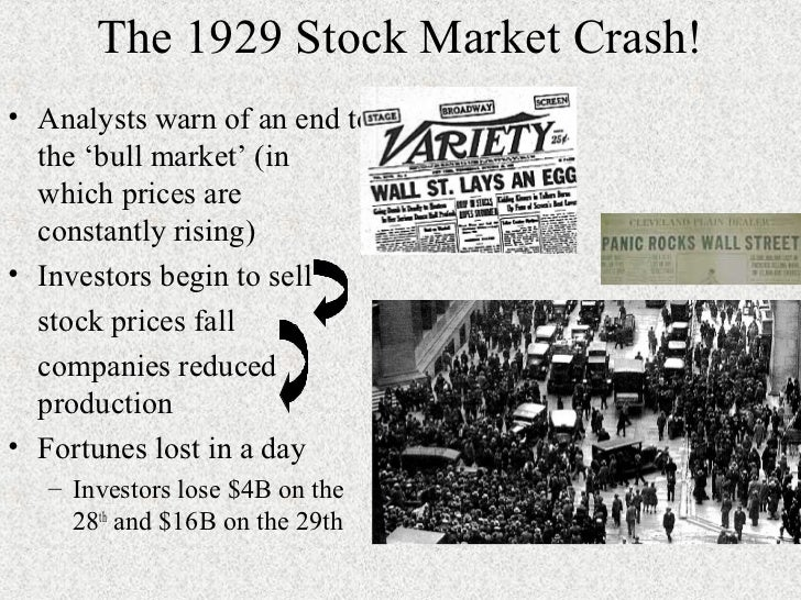 the causes and impact of the 1929 stock market crash On october 29th 1929, the us stock market crashed and before anyone could  take effective action, the country had reached its melting point.