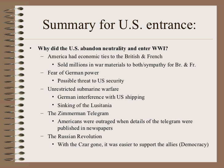 Why did america enter ww1 essay
