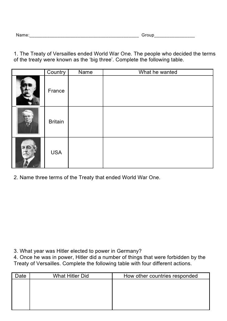 Name:___________________________________________ Group________________1. The Treaty of Versailles ended World War One. The...