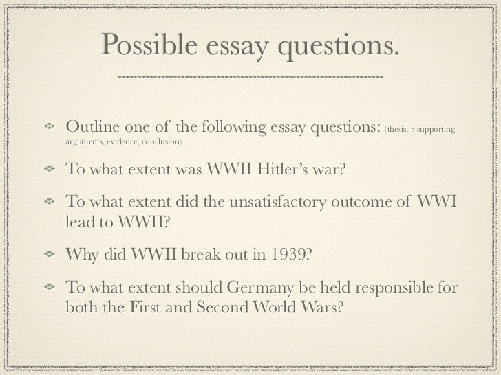 Wwii Essay Topics List
