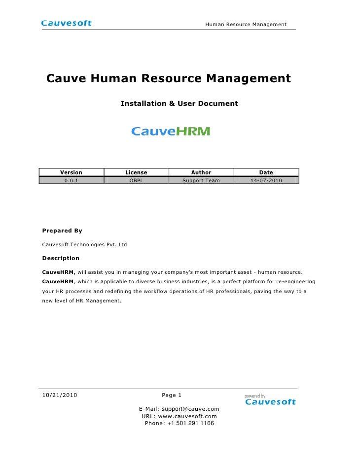 <br /> Cauve Human Resource Management<br />Installation & User Document<br />  <br />VersionLicenseAuthorDate0.0.1OBPLSu...