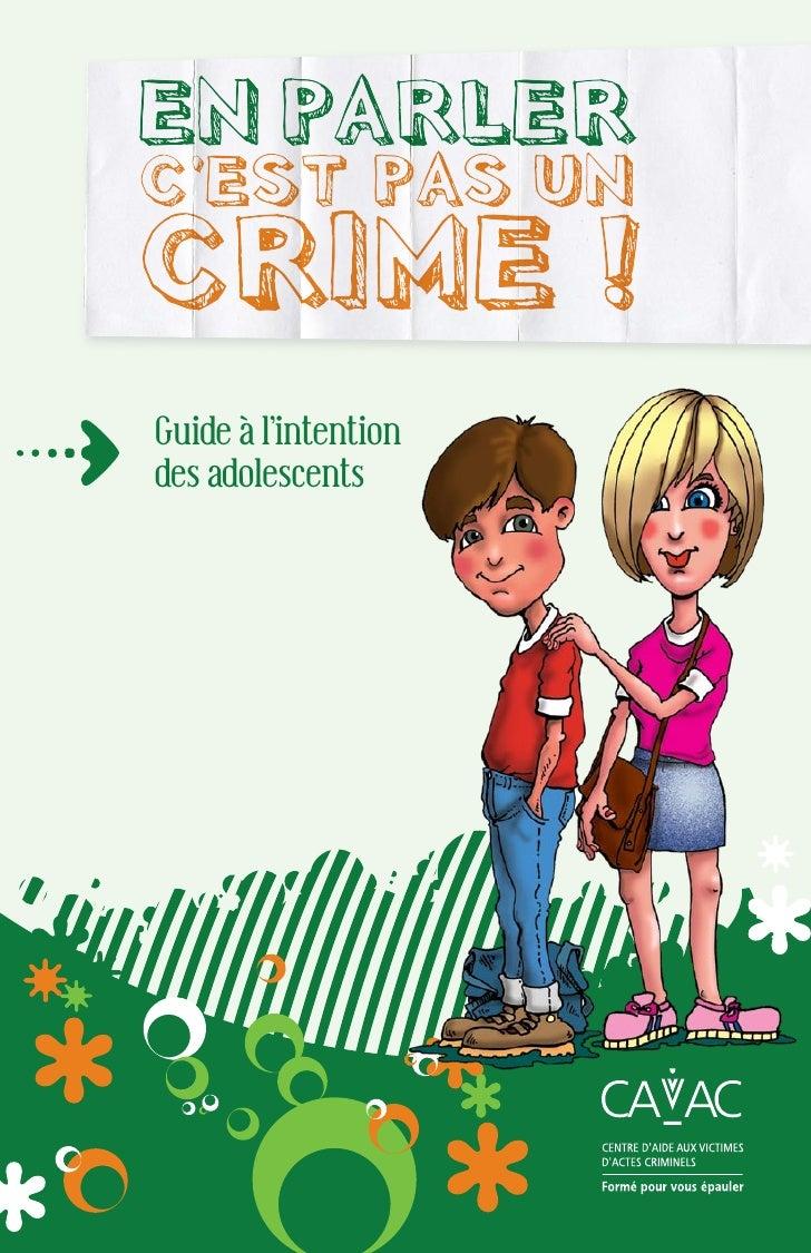 EN PARLER C'EST PAS UN CRIME ! Guide à l'intention des adolescents