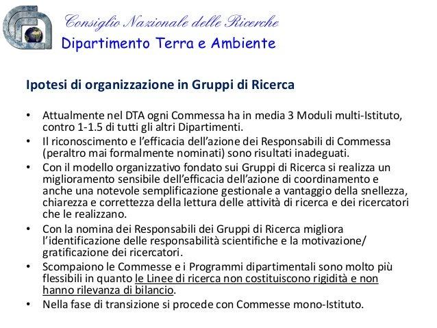 Ridefinizione del modello organizzativo per il coordinamento e la gestione delle attività di ricerca (Conferenza DTA 2010)