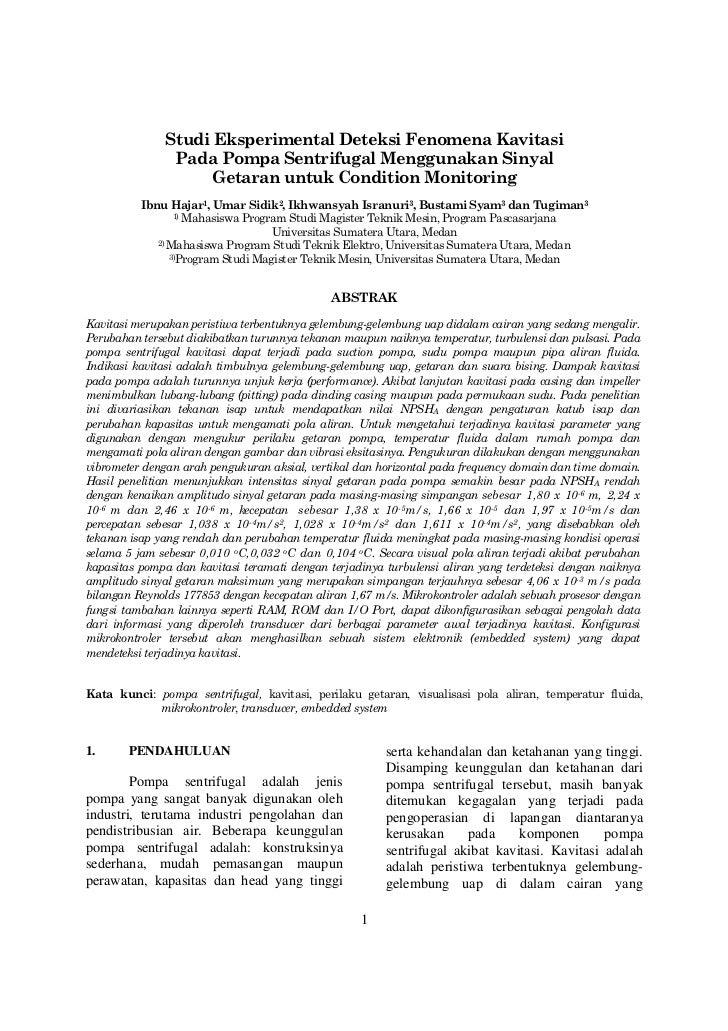 Studi Eksperimental Deteksi Fenomena Kavitasi               Pada Pompa Sentrifugal Menggunakan Sinyal                    G...