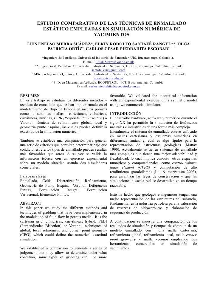 ESTUDIO COMPARATIVO DE LAS TÉCNICAS DE ENMALLADO             ESTÁTICO EMPLEADAS EN SIMULACIÓN NUMÉRICA DE                 ...