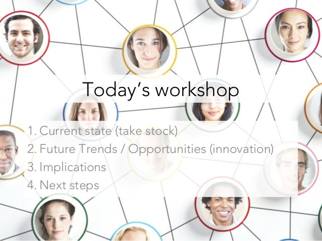 Today's workshop 1. Current state (take stock) 2. Future Trends / Opportunities (innovation) 3. Implications 4. Next steps