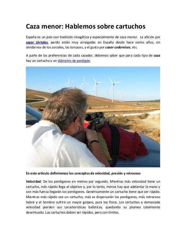 Caza menor: Hablemos sobre cartuchosEspaña es un país con tradición cinegética y especialmente de caza menor. La afición p...