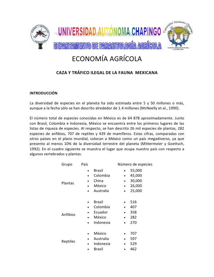 ECONOMÍA AGRÍCOLA                CAZA Y TRÁFICO ILEGAL DE LA FAUNA MEXICANA    INTRODUCCIÓN  La diversidad de especies en ...