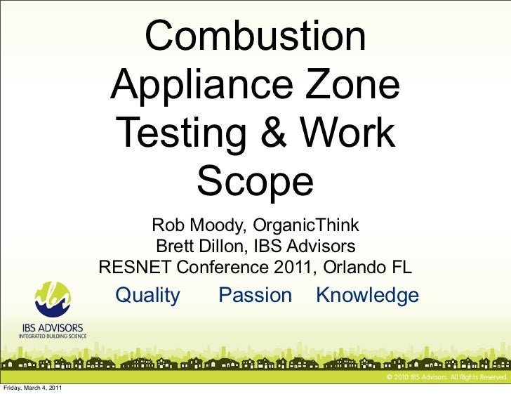 Combustion                         Appliance Zone                         Testing & Work                             Scope...