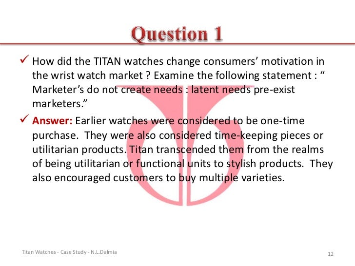case study on titan Cim case study: titan industries ltd 2003 analysis as a marketing consultant to the board of titan industries you will be expected to advise the.