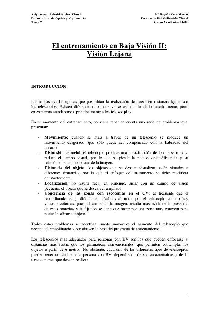 Entrenamiento Baja Visión : Visión Lejana