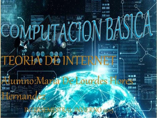 TEORIA DE INTERNET Alumno:Maria De Lourdes Flores Hernandez INTERSEMESTRAL INVIERNO 2015