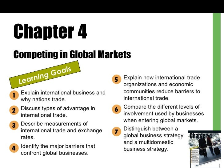Chapter 4 Competing in Global Markets Learning Goals Explain international business and why nations trade. Discuss types o...