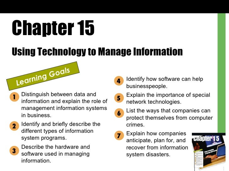 Chapter 15 Using Technology to Manage Information Learning Goals Distinguish between data and information and explain the ...