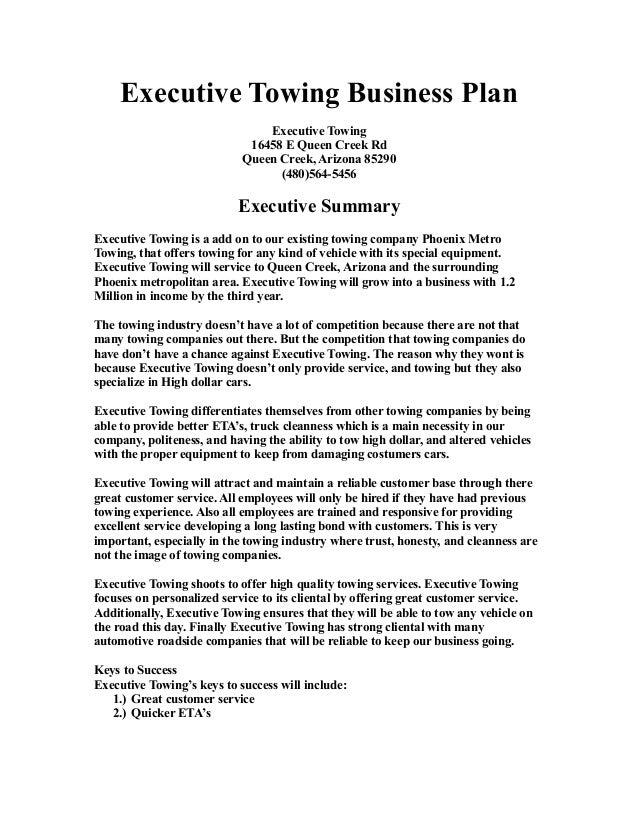 Towing business plan