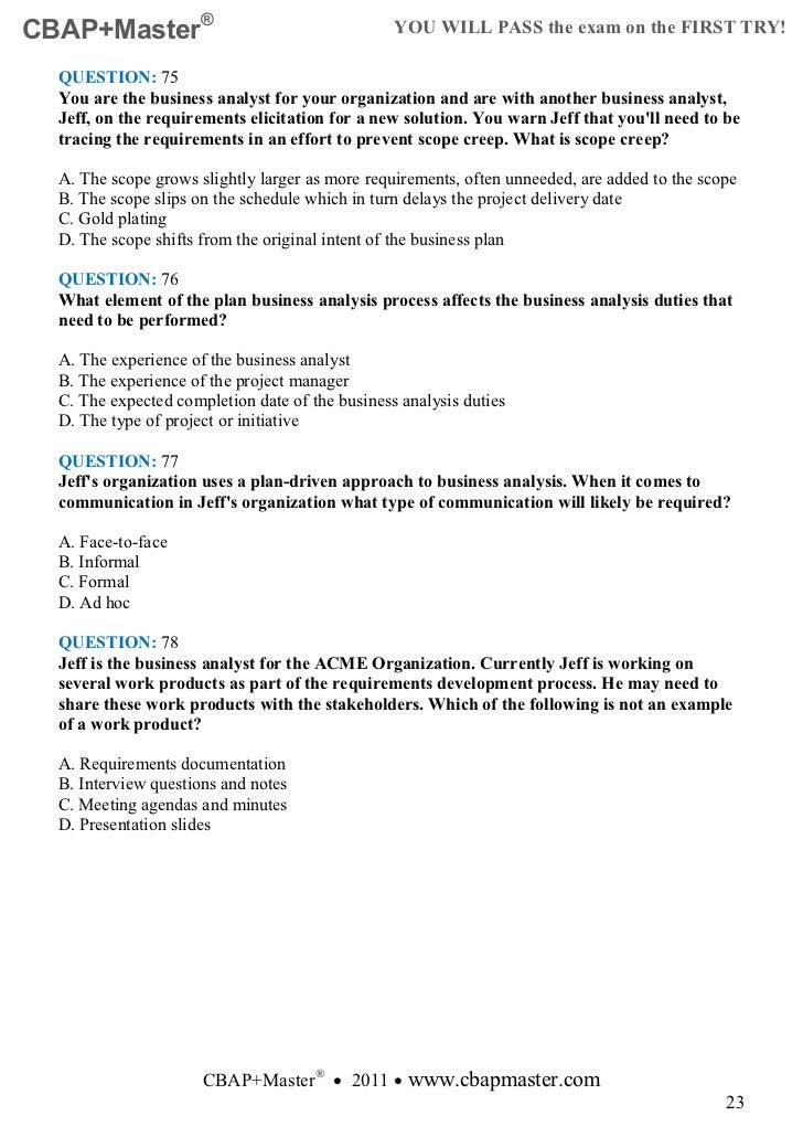 cbap exam questions free pdf