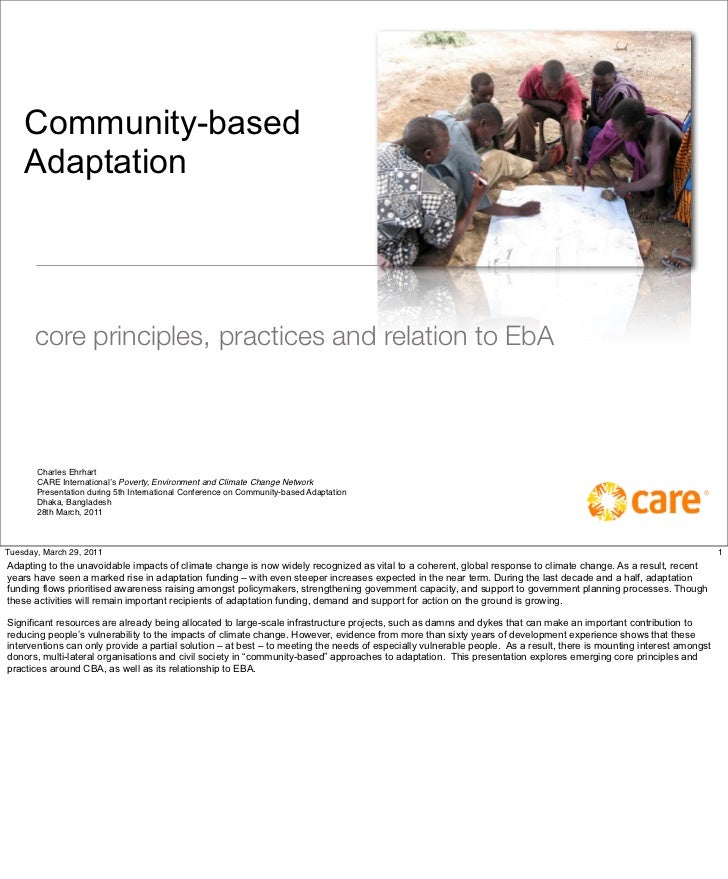 Community Based Adaptation, Principles And Practices, 2011